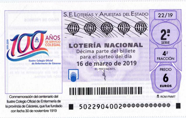 Cupón lotería nacional