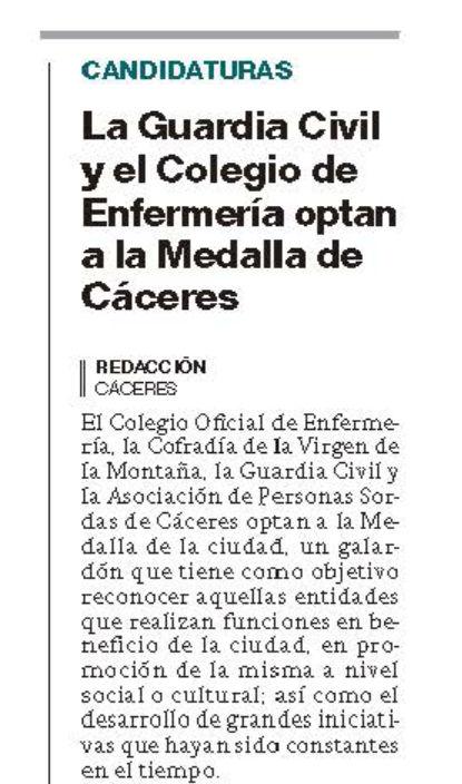 La Guardia Civil y el Colegio de Enfermería optan a la Medalla de Cáceres