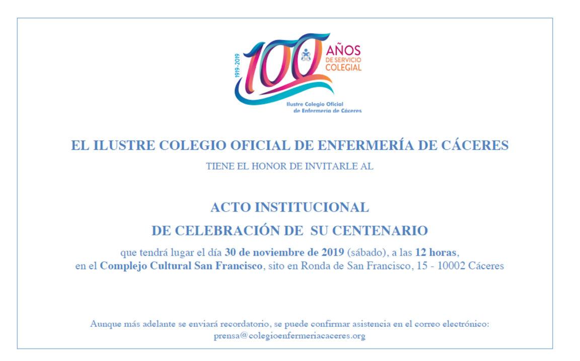 Tarjetón invitación acto institucional de celebración del centenario