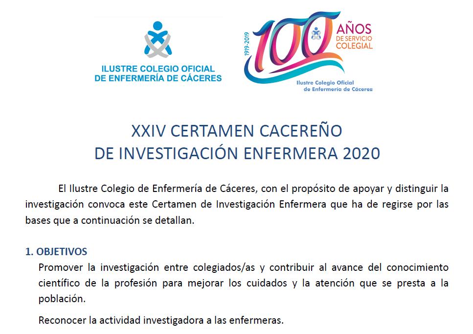 XXIV Certamen cacereño de investigación enfermera 2020 agenda